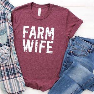 Maroon Farm Wife Tee. Small- XL.